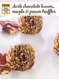 Dark Chocolate Bacon, Maple & Pecan Truffles