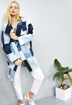 (99+) Raw denim patchwork oversized cocoon autumn coat | Vintaholic | ASOS Marketplace http://spotpopfashion.com/