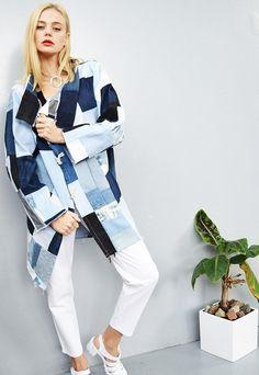 (99+) Raw denim patchwork oversized cocoon autumn coat | Vintaholic | ASOS Marketplace