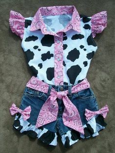 Items similar to Shorts and Blouse Beautiful PINK BANDANA upcycled cowgirl shorts outfit with custom made matching blouse. size - on Etsy Baby Outfits, Cowgirl Outfits, Short Outfits, Toddler Cowgirl Outfit, Cowgirl Birthday Outfits, Cow Birthday Parties, 2nd Birthday, Rodeo Birthday, Birthday Ideas