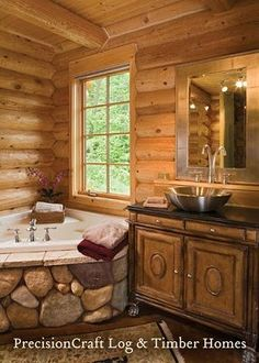 Rustic Log Cabin Bathrooms | log cabin bathroom,log home bathroom,bathroom design photos,bathroom ...
