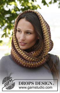 """Crochet DROPS neck warmer in """"Big Delight"""". ~ DROPS Design ~ free pattern"""