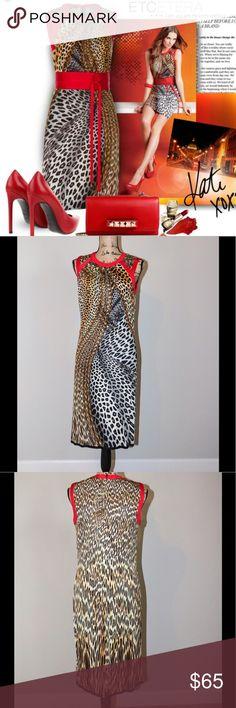 ETCETERA leopard print dress sz 6 Etcetera multi print dress with red trim   70% rayon 30 % silk  sz 6 Etcetera Dresses