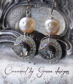 Moonbeams earrings vintage assemblage earrings by crownedbygrace