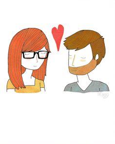 Hipster/Nerd/Geek couple. Artist: Nan Lawson