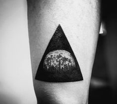 Dark Forest In Triangle Tattoo On Arms For Men