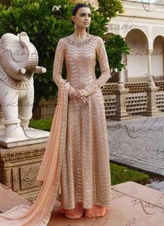 Sensible Beige Net Sequins Work And Heavy Floral Embroidered Work Designer Salwar Kameez