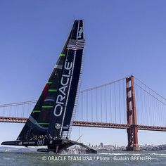 Flying by the Gate. #oracleteamusa @ggbridge #americascup