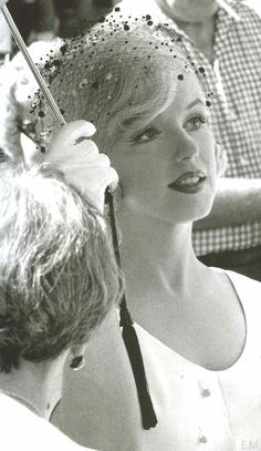 "on the set of ""Some Like It Hot.""  A great picture of the amazing under-eye line that her makeup artist used to create the illusion of heavy upper lashes."