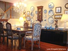 Collection of Delft Pottery and antique clocks was a corner stone of design in suburban home in Maryland. Designed by Lena Kroupnik, NCIDQ #Designer #LenaKroupnik