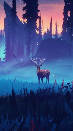 Deer in Nature Art iPhone Wallpaper - iPhone Wallpapers
