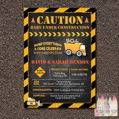 Construction Baby Shower Invitation. Baby Boy. Boy Shower Invitation. Coed  Baby Shower. Dump Truck Baby Shower