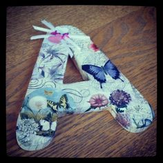 """""""A"""" for Anastasia. This will be so cute for her room. Way easy to make, too!"""