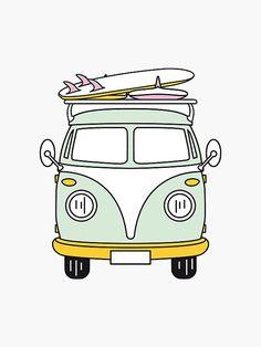 Volkswagen Bus Discover Hippie Van with Surfboard Sticker by trendsonpoint Van Drawing, Surf Drawing, Hippie Drawing, Hippie Painting, Surfboard Stickers, Surf Stickers, Surfboard Drawing, Surfboard Art, Homemade Stickers