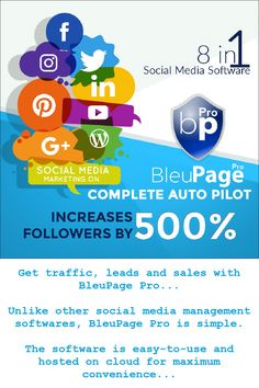 Bluepage Pro is the world's FIRST 8-in-1 social media marketing tool that lets you manage ALL of your social media accounts with just a few clicks of your mouse…