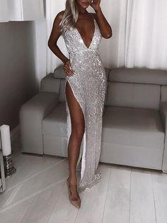 Split Prom Dresses, Mermaid Prom Dresses, Sexy Dresses, Cute Dresses, Evening Dresses, Silver Prom Dresses, Silver Party Dress, Silver Dress, Midi Dresses