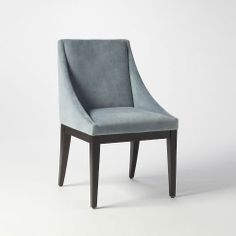Curved Upholstered Chair, Steel Blue