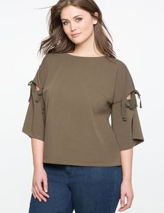 3000b12593e32e ELOQUII Tie Sleeve Easy Top Plus Size Designers, Plus Size Tops, Plus Size  Women