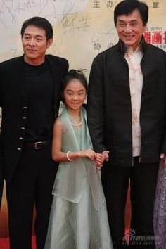 """Jet Li with his daughter and Jackie Chan, Jackie Chan: such a Humble guy, Great example of what a """"Celebrity""""  should be"""