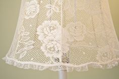 DIY:  How to Cover a Lampshade with Lace - using glue and clips - via The Polka Dot Closet