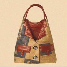 Bolsa confeccionada com saco de cimento de Rogério Lima.