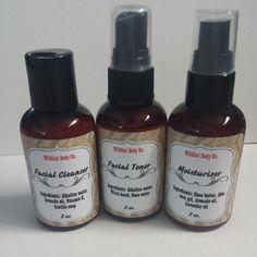 2oz. Cleanser 2oz. Toner 2oz. Moisturizer No preservatives, no additives, just all natural goodness for your skin! Great for all skin types.