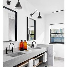 Something a little different! Concrete sinks are hard to create, but they are trendy. I love the subtle colors in the bathroom, matched with the black fixtures. : @crystalanninteriors #lajollalocals #sandiegoconnection #sdlocals - posted by Beth. San Diego Realtor  https://www.instagram.com/bethvanboxtel. See more post on La Jolla at http://LaJollaLocals.com