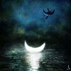 Moon.boat.river.night.fantasy