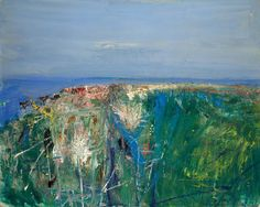 Joan Eardley ( 1921 - Summer Grasses and Barley on the Clifftop The Wave Seascape . Landscape Artwork, Abstract Landscape Painting, Seascape Paintings, Contemporary Landscape, Contemporary Paintings, Art Uk, City Art, Matisse, Glasgow