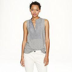 Crew Tux-Front Tank Inspired by formalwear but much more comfortable, this knit tank mixes soft, stretchy cotton with stripe shirting fabric. Slightly loose fit. Body length: Runs big. In excellent condition. Shirting Fabric, Dress Codes, J Crew, Cool Outfits, Fashion Tips, Loose Fit, Clothes, Dresses, Tank Tops