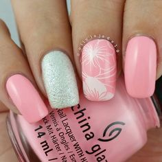 Pretty flowers and bright polish mixed with white