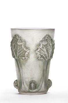 """René Lalique (1860-1945), Cire-Perdue """"Rhubarb"""" Glass Vase."""