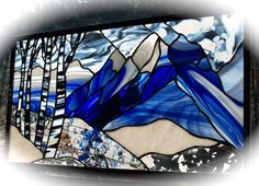 Grand Tetons Stained Glass Winter Panel also in Autumn or Summer Stained Glass Mosaic, Mountain Scene, Glass Design, Art, Fused Glass, Stained Glass Designs, Glass Art