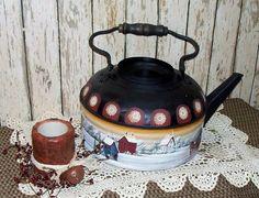 Vintage Tea Kettle Hand Painted Primitive Folk Art Saltbox Horse Sleigh OFG. $34.98, via Etsy.