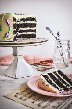 Chocolate cake with lavender infused buttercream frosting!