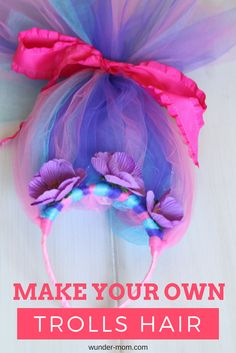 We saw the movie Trolls and my girls instantly fell in love! Anytime we find a new favorite character we of course, need to make our own costumes and accessories to go with them! Such a cute idea for a birthday party or halloween costume! kids costume | kids crafts | birthday | party ideas | Trolls | Halloween Costume