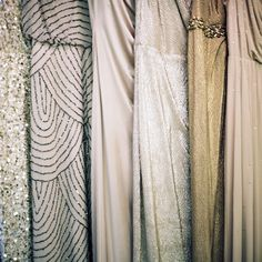 Mix and match metallic bridesmaid dresses. This would be a gorgeous idea for a more Gatsby like wedding! Metallic Bridesmaid Dresses, Wedding Bridesmaids, Bridesmaid Color, Sparkly Dresses, Sparkly Bridesmaids, Bridesmaid Ideas, Sarah Seven, Bridal Musings, Wedding Palette
