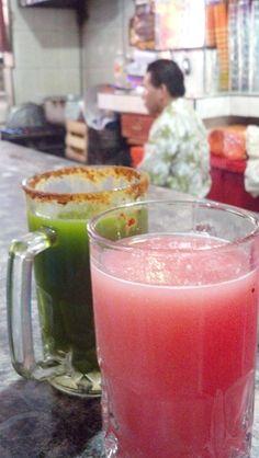 """Curado de apio y curado de guayaba. Guava pulque and celery pulque. Pre-hispanic fermented and flavoured drink from cactus. Pulqueria """"Los Danzantes"""""""
