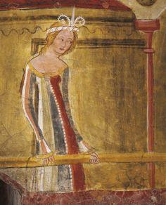 Lady in courtly robes 13851413 by artists from the Bolzano School fresco bathroom Runkelstein Castle near Bolzano TrentinoAlto Adige Detail Italy...