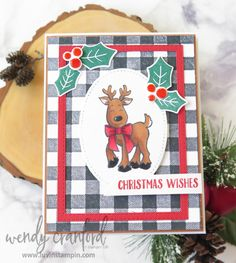 Reindeer Christmas Card with Buffalo Check   Facebook Live Replay