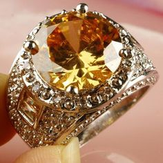 'Round Cut Morganite & White Topaz SS Ring Sz 8' is going up for auction at  9am Sun, Aug 4 with a starting bid of $1.
