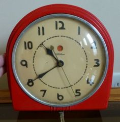 Beau Vintage Kitchen Stuff | Vintage Red Bakelite Telechron Kitchen Wall Clock  Electric