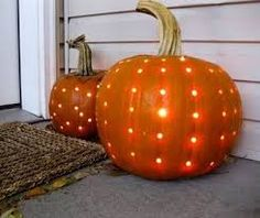for halloween (use a drill to make a polka dotted carved pumpkin). will be using the purple lights. Its just me for halloween this year. Fall Crafts, Holiday Crafts, Holiday Fun, Holiday Ideas, Diy Crafts, Festive, Autumn Ideas, Holidays Halloween, Halloween Crafts