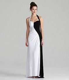 Blondie Nites 2Tone Halter Gown #Dillards Perfect for a Cruella DeVile costume.