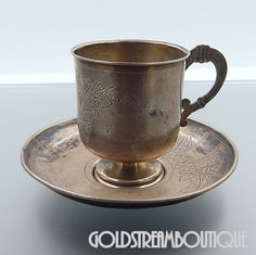 Antique 1894 Imperial Russia Moscow 84 Silver Etched Floral Tea Cup & – Gold Stream Boutique