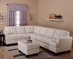Toronto Tufted Cream Leather L Shaped Sectional Sofa at GoWFB.ca | True Contemporary - Toronto Tufted Cream Leather L Shaped Sectional Sofa by True Contemporary
