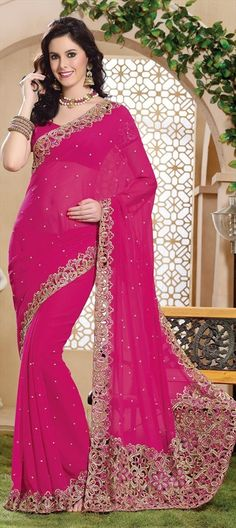146203, Embroidered Sarees, Party Wear Sarees, Georgette, Machine Embroidery, Sequence, Stone, Kasab, Pink and Majenta Color Family