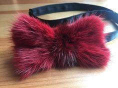 Fur Bow Tie, Red Mink Bow Tie, Real Mink Fur, Men's Formal Accessories, Burgundy Maroon Tie
