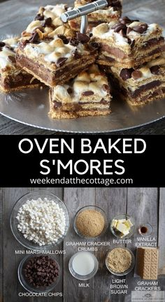An easy way to enjoy S'mores all year long. Made with layers of graham crackers, marshmallow, and chocolate. Bbq Desserts, Campfire Desserts, Easy Summer Desserts, Easy Desserts To Bake, Dessert For Bbq, Summer Desert Recipes, Easy Things To Bake, Easy Dessert Bars, Easy Treats To Make