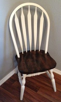 Imagine a natural windsor chair.  Like these      That is what we started with. Then my friend Katie sanded all the seats down with a 15...